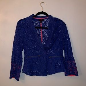 Blue lace blazer